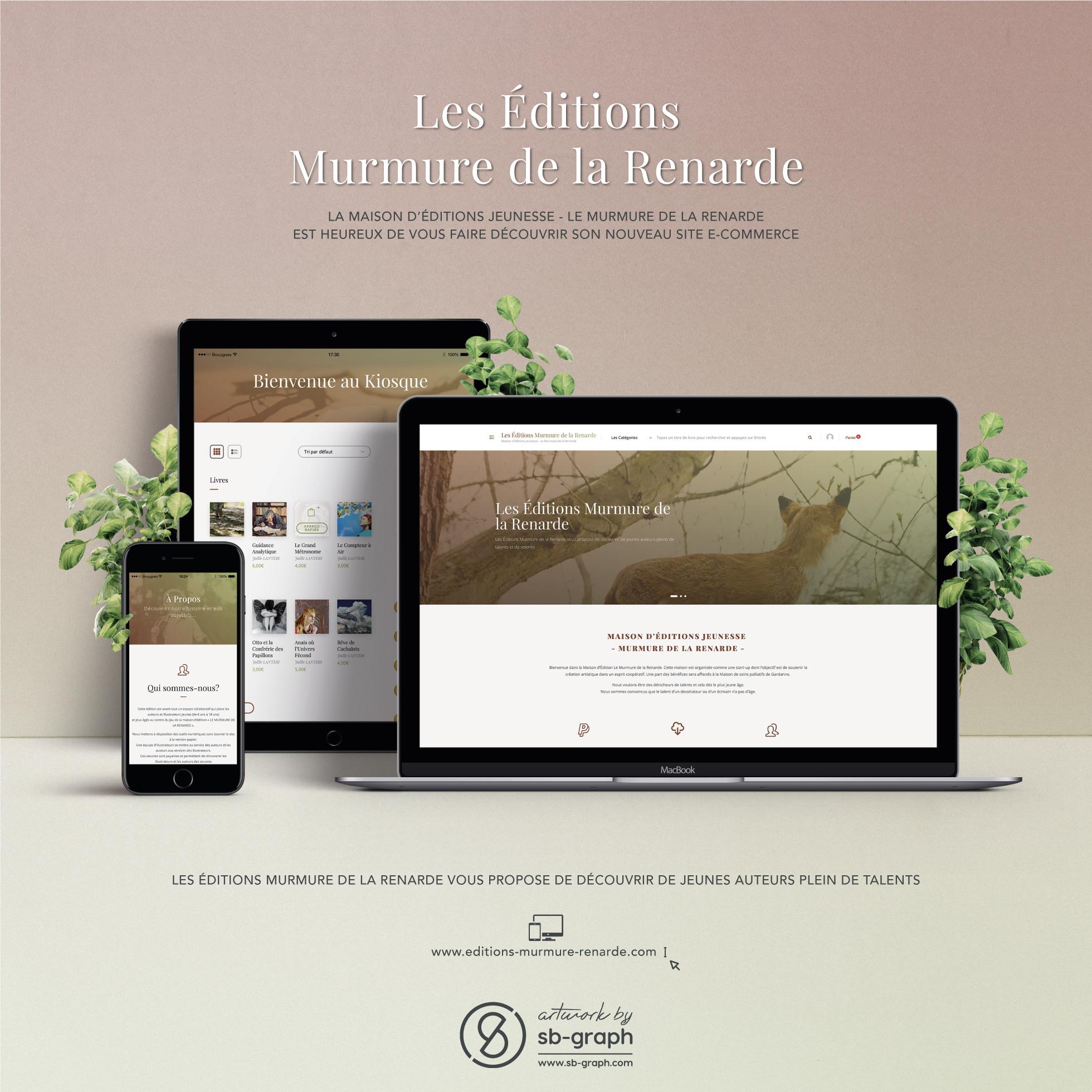 Réalisation du site e-commerce Editions Murmure de la Renarde par SB-GRAPH