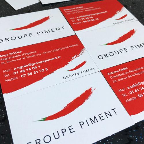 Print carte de visite piment interim recto / verso
