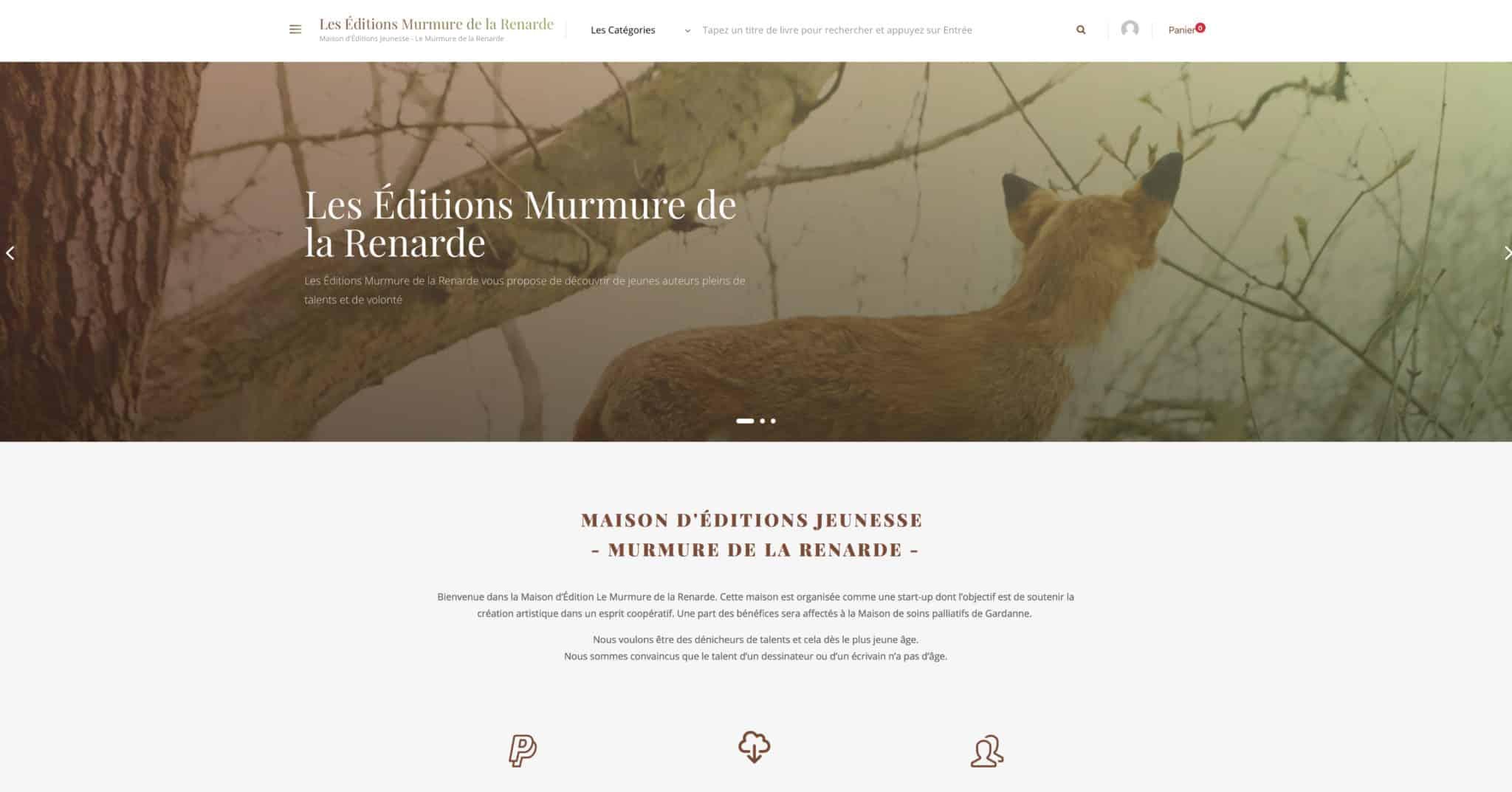 page accueil site e-commerce maison éditions jeunesse