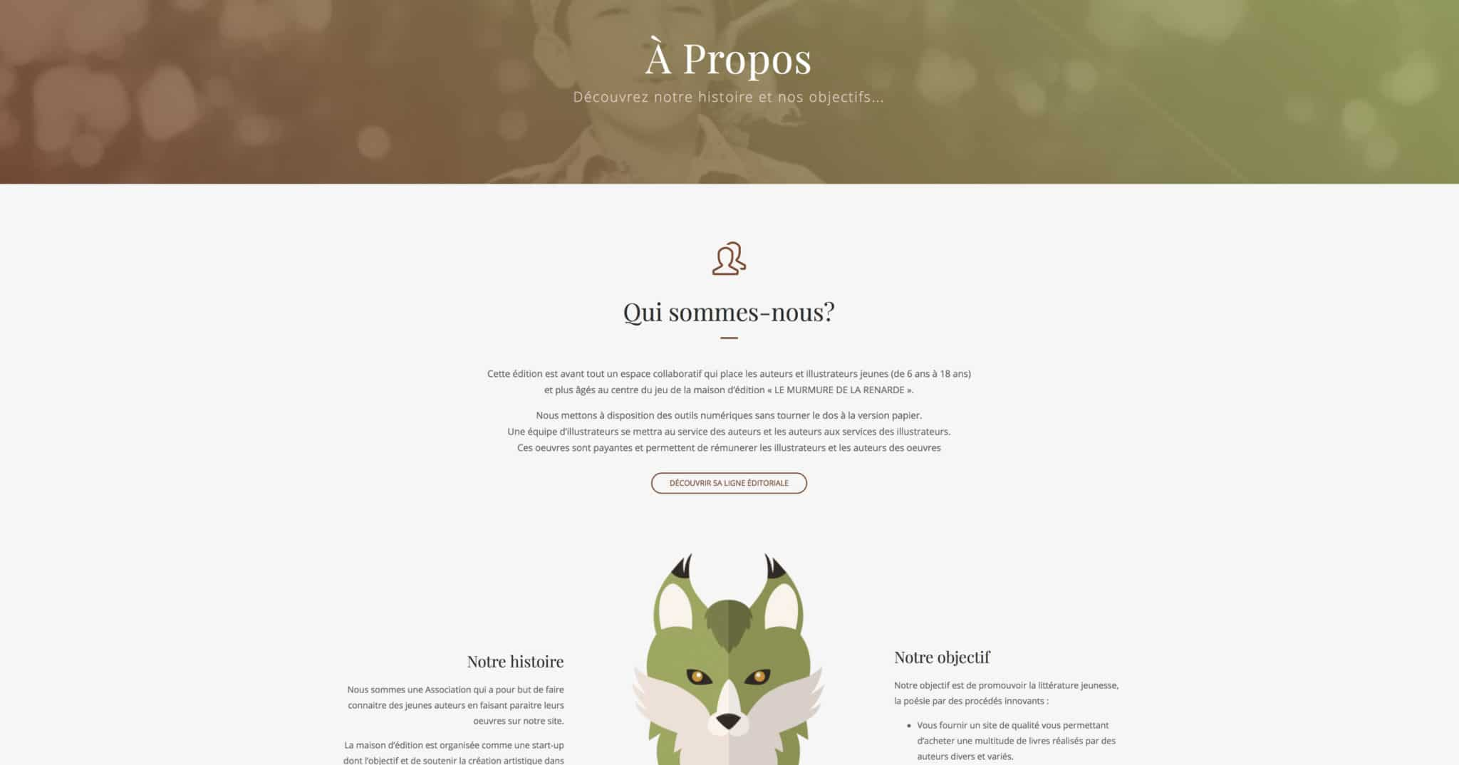 page a propos site e-commerce maison éditions jeunesse